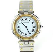 Sale 8447J - Lot 95 - A GENTS CARTIER SANTOS QUARTZ WRISTWATCH; in gold and stainless steel, white dial, Roman numerals, blued hands, sapphire crystal, c...