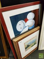 Sale 8491 - Lot 2086 - Group of (3) original artworks: Debi Riley Landscape, watercolour; Susanne S. Family Portrait ink and wash; Marion Bunnys Frie...