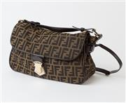 Sale 8550F - Lot 60 - A Fendi brown canvas and leather handbag with double F monogram pattern and metal clasp with Fendi name, inside lined in brown canva...
