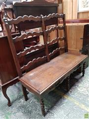 Sale 8598 - Lot 1014 - 18th Century Style Oak Settee, with ladder back & turned legs