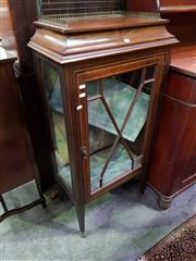 Sale 8653 - Lot 1049 - Early 20th Century New Zealand Inlaid Mahogany Display Cabinet, with brass gallery back, above an astragal door enclosing a velvet l...
