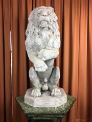 Sale 8730B - Lot 98 - Pair of Concrete Entrance Lions H: 72cm