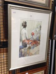 Sale 8767 - Lot 2016 - Cynthia Hundlbery - Red Fan watercolour, 60.5 x 47.5cm, signed lower left