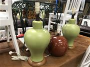 Sale 8809 - Lot 1067 - Pair of Green Ceramic Table Lamps and Another
