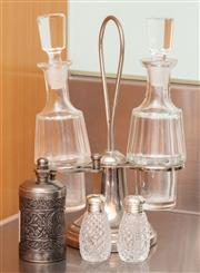 Sale 8891H - Lot 81 - A cruet set on stand together with a small embossed grinder and a miniature salt and pepper