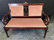 Sale 9048 - Lot 1035 - Late Victorian Inlaid Mahogany Settee, with upholstered dusty pink velvet back having a central harp panel, scrolled arms & tapering...