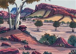 Sale 9141 - Lot 534 - Kevin Namatjira (1958 - 2018) MacDonnell Ranges watercolour 25 x 35 cm (frame: 55 x 65 x 2 cm) signed lower left