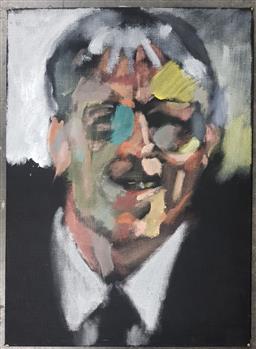 Sale 9155 - Lot 2028 - Henrique Del Val  El Hombre Aspirina acrylic on canvas, frame: 51 x 71 cm, signed verso -