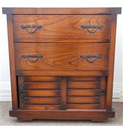 Sale 8800 - Lot 4 - A Japanese elm campaign chest with two drawers above sliding drawers revealing two interior short drawers, H 97 x W 84 x D 46cm, ex...