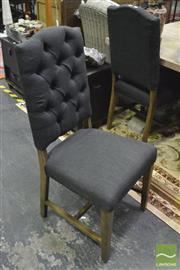 Sale 8347 - Lot 1021 - Set of Six Louis Black Fabric Dining Chairs
