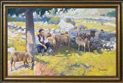 Sale 8382 - Lot 595 - Slavko Tomerlin (1892 - 1981) - Sheep Herder under the Tree 63.5 x 108cm