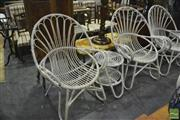 Sale 8398 - Lot 1059 - Pair of Cane Armchairs & Side Table (missing glass top)