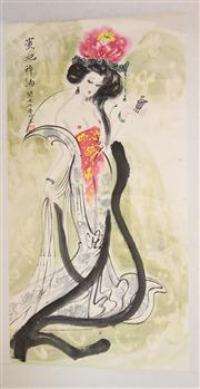 Sale 8436 - Lot 60 - Chinese Scroll Painting of Scantily Clad Maiden