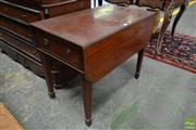 Sale 8500 - Lot 1044 - George III Inlaid Mahogany Pembroke Table, fitted with single drawer (locked), on tapering legs with spade feet (some losses)