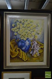 Sale 8525 - Lot 2038 - Artist Unknown, Yellow Flowers and Cherubs, acrylic on canvas, 75 x 60cm, signed lower right