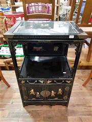 Sale 8912 - Lot 1029 - Small Oriental Cabinet with Stone Inserts and Glass Top (H: 76 W: 47.5 D: 36.5cm)