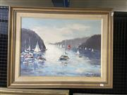 Sale 9004 - Lot 2025 - Andrew Schlecht - Pittwater, Bayview Looking Over to Newport, oil on board, SLR