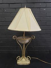 Sale 9034 - Lot 1049 - Metal & Glass Table Lamp With Marble Base (H88cm)