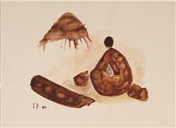 Sale 9141 - Lot 589 - Ivan Peries (1921 - 1988) - Meditating Figure, 1980 20 x 27 cm (mount: 28 x 38 cm )