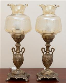 Sale 9155H - Lot 67 - A pair of twin handled vase based lamps, with glass shade. Height 43.5cm