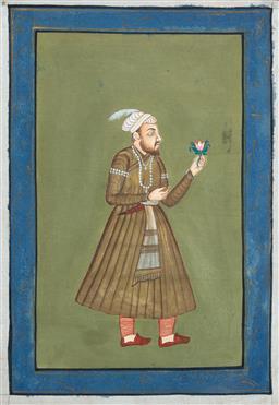 Sale 9164H - Lot 61 - Mughal school, Portrait of a Gentleman, work on silk, unframed, 50cm x 34cm