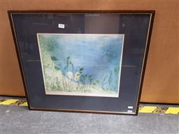 Sale 9155 - Lot 2066 - Edith Cowlishaw  Snow Daisies handcoloured etching, ed. 25/30, frame: 53 x 61 cm, signed lower right -