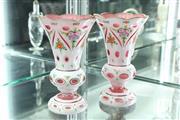 Sale 8288 - Lot 29 - Bohemian Cut Glass Pair of Vases