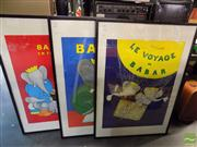 Sale 8410T - Lot 2047 - Jean de Brunhoff, 3 Works, Adventures of Babar, Offset Lithographs, each 78 x 58cm