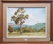 Sale 8595 - Lot 2026 - Beryl Gutherie (1929 - 2015) - Valley View, Carpertee 34.5 x 44.5cm (frame: 51 x 61cm)