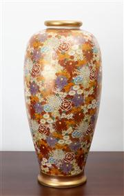 Sale 8774A - Lot 52 - A large Satsuma baluster vase depicting marigolds, marguerites and chrysanthemums, H x 40cm