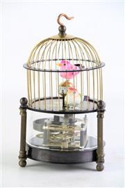 Sale 8852 - Lot 57 - A Bird Cage Themed Clock (H:16cm)