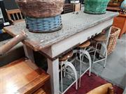 Sale 8912 - Lot 1020 - Rustic Timber Works Bench with Tin Top (H: 106.5 L: 189 W: 68cm)