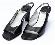 Sale 8926H - Lot 99 - A pair of vintage Charles Jourdan square toe, block heels in black leather, size 10