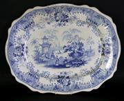 Sale 8968 - Lot 21 - 19th century Davenport Canton blue and white serving dish (48cm x 38cm)