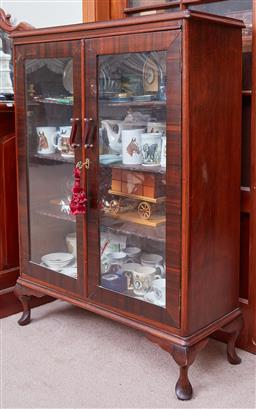 Sale 9103M - Lot 498 - A raised timber two door display case with four shelves, some losses to veneer, Height 117.5cm x Width 87cm x Depth 31cm