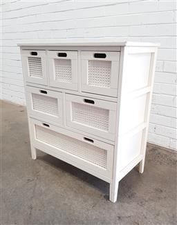 Sale 9108 - Lot 1049 - Timber multi drawer unit (h:84 x w:76 x d:40cm)