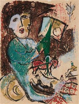 Sale 9141 - Lot 597 - Marc Chagall (1887 - 1985) Frontispiece (from La Poèmes), 1968 colour lithograph 32 x 24 cm (frame: 75 x 68 x 3 cm) unsigned