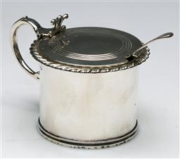 Sale 9138 - Lot 55 - A Victorian Sterling Silver Mustard Pot With Cobalt-Blue Glass Liner and Spoon (H:8cm),