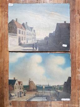Sale 9155 - Lot 2083 - Pair of C19th European School paintings depicting town scenes, (unframed) 28 x 35 cm each -