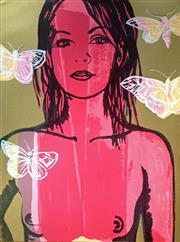 Sale 8507A - Lot 5015 - David Bromley (1960 - ) - Belinda with Butterflies 76 x 56.5cm