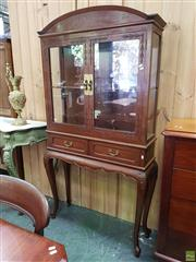 Sale 8598 - Lot 1003 - Early Straits Chinese Teak Display Cabinet, with arched cornice, two glass panel doors, two drawers & on cabriole legs (Part Lock in...