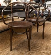 Sale 8709 - Lot 1037 - A pair of Thonet Bentwood armchairs, Height of back 85cm, W x 60cm