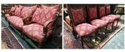 Sale 8774 - Lot 1081 - Louis XVI Style Carved Walnut Salon Suite, comprising a settee, two armchairs & four side chairs, all upholstered in red fabric with...