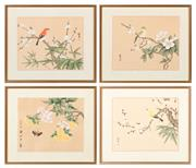 Sale 8855H - Lot 323 - Four framed Chinese works on silk, each with character stamps, total frame size 37 x 43cm