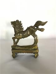 Sale 9015G - Lot 55 - Carved Stone Horse Statue on Stand. General Wear, Slight Chipping On Base. Size 22cm H