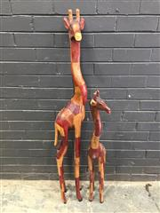 Sale 9034 - Lot 1002 - Pair of Graduated Timber Giraffes (h:106cm)