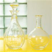 Sale 9066H - Lot 143 - Two glass decanters, one missing stopper. Height of taller 29cm.
