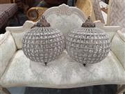 Sale 9071 - Lot 1096 - Pair of Ball Form Hanging Chandeliers (60 x 30cm)