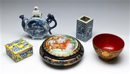 Sale 9156 - Lot 92 - A group of Chinese ware inc lidded dishes, square form vase, lacquered bowl and A porcelain blue and white jug