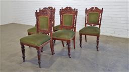 Sale 9157 - Lot 1007 - Set of 6 early timber frame dining chairs with velvet upholstery on castors (h98 x d52cm)